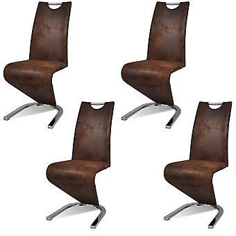 vidaXL sillas de comedor 4 piezas de cuero braun