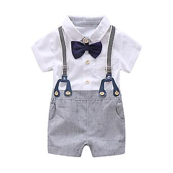 Boys Baptism Outfits with Bow Tie, Suspender Linen Shorts 1Set 3Pcs size:90 (12-24month)
