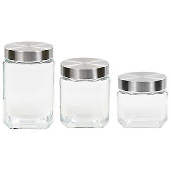 vidaXL storage glasses with silver lid 6 pcs. 800/1200/1700 ml