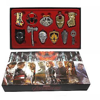 New 11pcs Avengers Batman Iron Man Collection Pendant Necklace Keychain Set ES12020