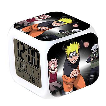 Uzumaki Naruto Led Colorful  Square With Date Thermometer Night Glowing Thermometer Glowing Cube Alarm Clock