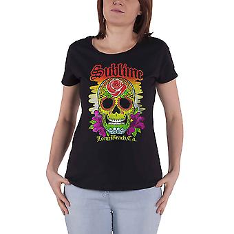 Sublime T Shirt Colour Skull Band Logo new Official Womens Skinny Fit Black