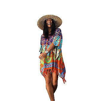 Long Bikini Cover Up Peacock Tail Colorful Printed Suncreen Beachwear Kaftan