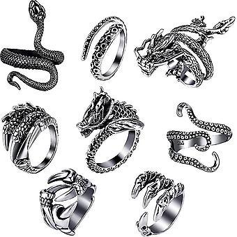 8db Retro állat gyűrűk Set Fekete Kígyó, Hosszú polip, Sárkány fej, Rövid polip, Farkas karom, Sárkány