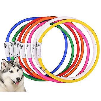 USB luminous pet collar anti-lost luminous dog collar(White)
