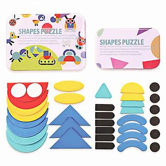 Geometric Shapes Wooden Children's Early Learning Puzzles In Tin Boxes