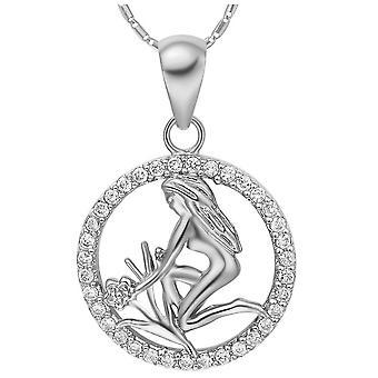 (Virgo)  Crystal Silver 18K Plated 12 Zodiac Necklace Constellation Horoscope Pendant