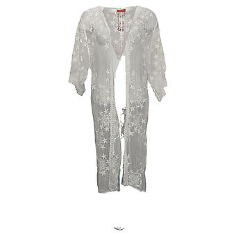 Carlos By Carlos Santana Women's Sweater Star Lace Mesh Topper White 746366