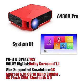 support 1080P 4K Mini Projecteur LED HD (Rouge)