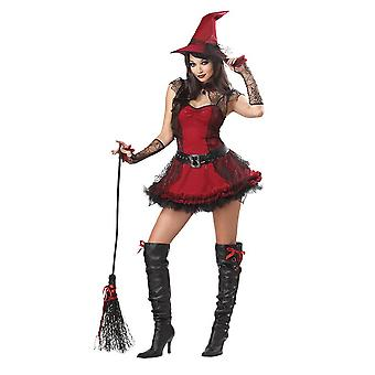 Womens Red And  Black Witch Halloween Fancy Dress Costume