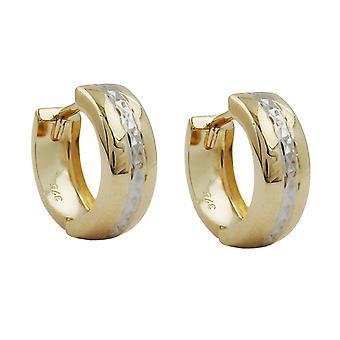 Pendientes Aro oro aro oro 375 criollo, 9 diamante oro KT bicolor
