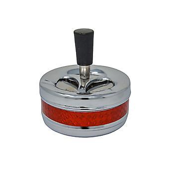 H-basics Dreh-Aschenbecher 95*90MM, 115G - Metallich Rot - Outdoor und Indoor Aschenbecher mit Dreh-Deckel
