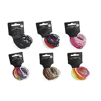 Set of 30 Thin Hair Elastic Bands Pony Tail Bobbles School Uniform