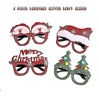 4 Pieces Christmas Glasses Frame And Headbands Cute Hair Hoop Decoration Accessories Giftset For Xmas Party