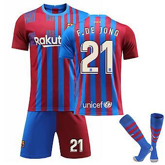 F De Jong #21 Trikot Home 2021-2022 Neue Saison Herren Barcelona Fußball T-Shirts Trikot Set
