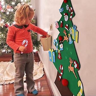 Diy Felt Vánoční strom Set 26ks odnímatelné ozdoby, děti nástěnné závěsné vánoční dárky pro vánoční ozdoby