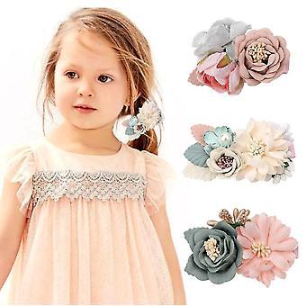 Blumen Haarspangen Set-3pcs Floral Haarschleife Accessoires für Baby Mädchen