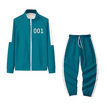 Squid Zip Up Hoodie Suit, Drama Character Halloween Cosplay Costume Long Sleeve Jacket Zippered Sweatshirt Without Hood