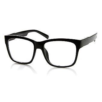 カジュアルな大胆な太いスクエア フレーム クリアレンズ角縁メガネ
