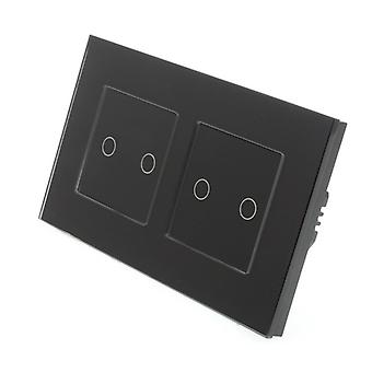 I LumoS Black Glass Double Frame 4 Gang 1 Way Remote Touch LED Light Switch Black Insert