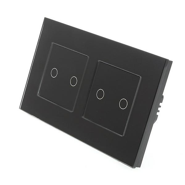 I LumoS Black Glass Double Frame 4 Gang 2 Way Touch LED Light Switch Black Insert