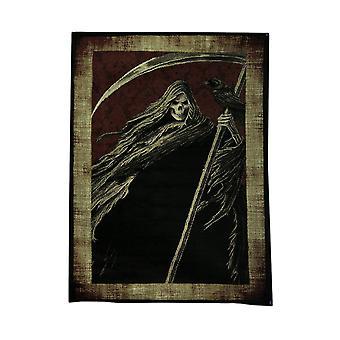 Tapete de área de 5 x 7 pé preto e vermelho Grim Reaper com borda bege