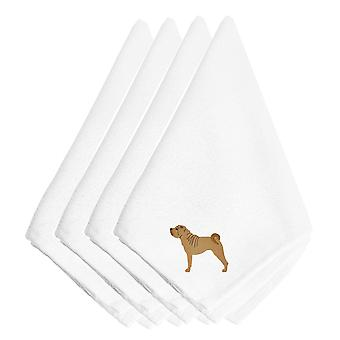 Carolines Treasures  BB3452NPKE Shar Pei Merry Embroidered Napkins Set of 4