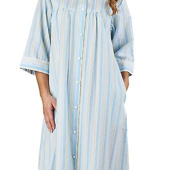 Slenderella HC1226 vrouwen Stripe Seersucker blauwe badjas Lounge Robe 3/4 lengte mouw badjas