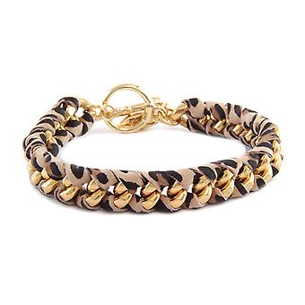 Ettika - Yellow Gold Leopard Bracelet and Cotton Ribbons Printed 3112