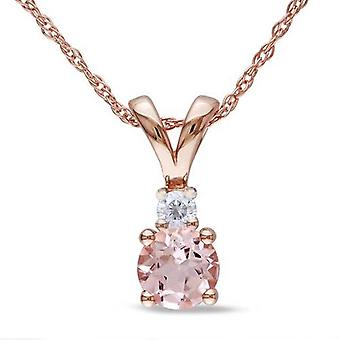 1ct Morganite & Diamond Solitaire accento ciondolo 14k oro rosa