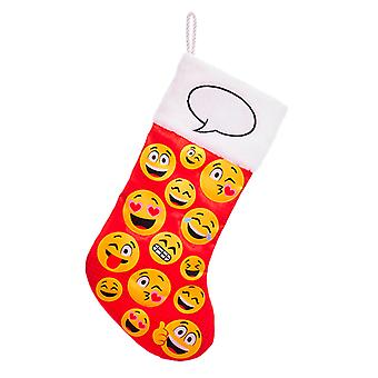 Kurt Adler Emoticon Printed Faces Red and Yellow  Holiday Stocking