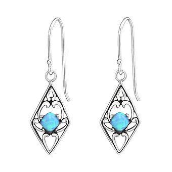 Rauten - 925 Sterling Silber Opal und halb kostbaren Ohrringe - W37118X