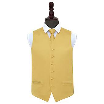 Gold Plain Satin Wedding Waistcoat & Tie Set