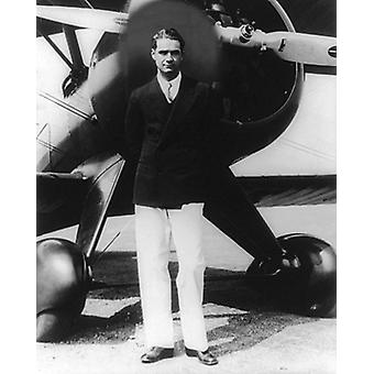 Howard Hughes Portrait with Boeing Plane Inglewood CA 1940 Poster Print by McMahan Photo Archive (8 x 10)