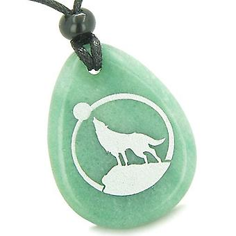 Amulette Courage Howling Wolf Moon bonne chance Totem Aventurine pendentif