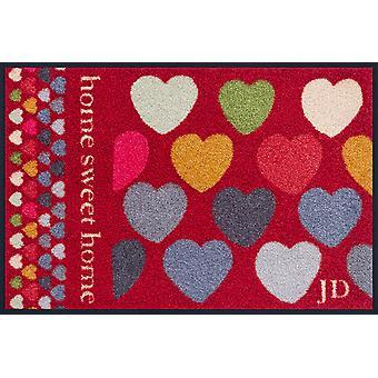 Años sesenta corazones rojo 50 x 75 cm colada + seco Julie Dodsworth