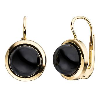 Onyx round boutons 333 Gold 2 Onyxe black earrings gold earrings