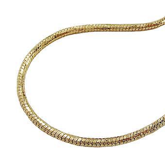 Kette 1,5mm Schlangenkette rund diamantiert vergoldet AMD 60cm