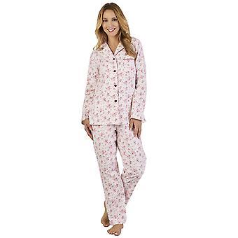 Slenderella PJ2213 Frauen Luxus Flanell Floral Pyjama Pyjama Set
