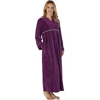 Slenderella GL2792 Women's Luxury Velvet Dressing Gown Loungewear Bath Robe Robe