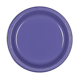 Amscan Purple 22.8cm Plastic Plates (Pack Of 20)