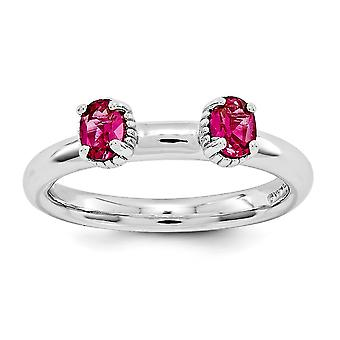 2.5mm 925 Sterling Silver Polished Prong set Rhodium plaqué Stackable Expressions Créé Ruby Two Stone Ring Bijoux Gi