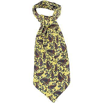 Knightsbridge Krawatte Paisley Seiden Krawatten - gelb/Navy