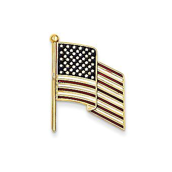 14k Yellow Gold Not engraveable Enameled Flag Pin Charm Jewelry Gifts for Women - 3.0 Grams