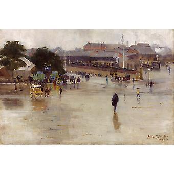 Gare de Redfern, Arthur Streeton, 60x40cm