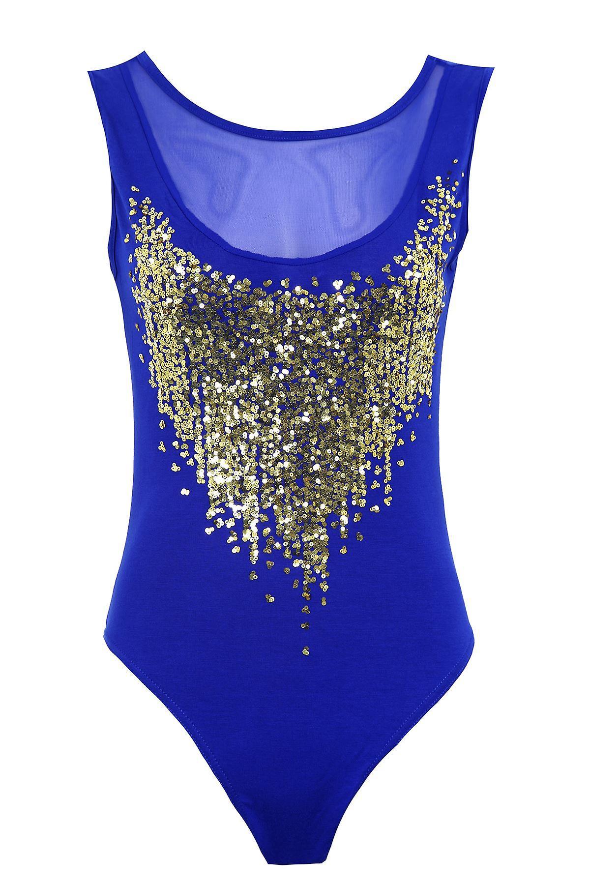 Ladies Sheer Gold Sequin Mesh Insert Low Back Leotard Womens Bodysuit Top