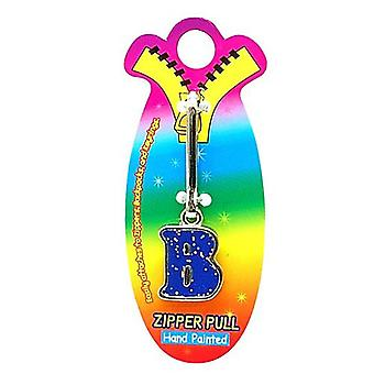 OOTB Initial B Blue Hand Painted Base Metal 4.5 cm Glitter Zipper Puller