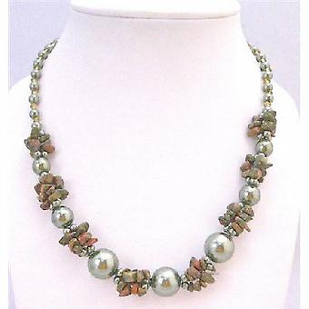 Olivine Pearls w/ Olivine Nugget & Glass Beads Inexpensive Necklace