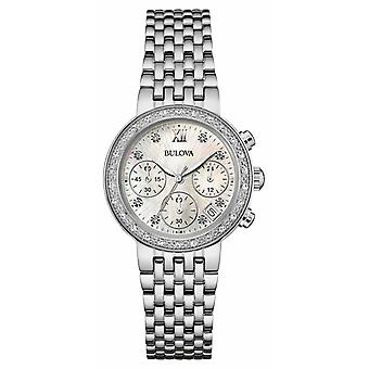 Bulova Ladies Stainless Steel Diamond impostare orologio Chrono 96W204