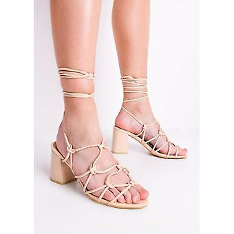 Knotted Strappy Block Heel Lace Up Sandals Cream